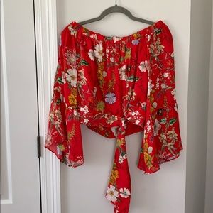 Red floral off the shoulder bell sleeve top